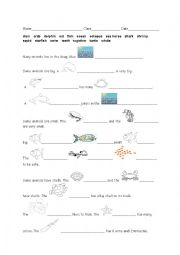 english worksheets sea creature fill in the text. Black Bedroom Furniture Sets. Home Design Ideas