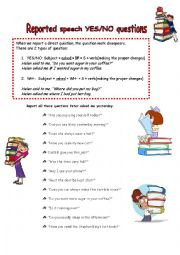 English Worksheet: Repoted speech YES/NO questions