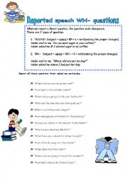 English Worksheet: Reported speech WH- questions