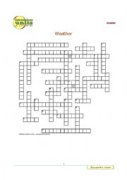 english worksheets weather crossword puzzle. Black Bedroom Furniture Sets. Home Design Ideas