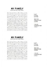 English Worksheet: Family - Wordsearch