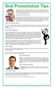 English Worksheet: Oral Presentation Tips