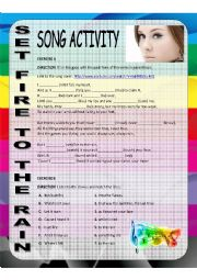 English Worksheet: song activity - Set fire to the rain by adele