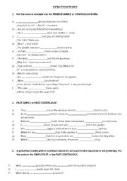 English Worksheet: VERBAS TENSES REVISION