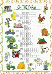 English Worksheet: On the Farm Crossword Puzzle