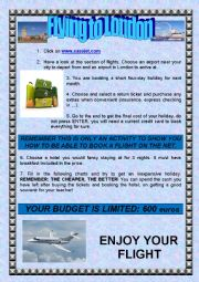 English Worksheet: WEBQUEST: BOOKING A FLIGHT ON THE NET