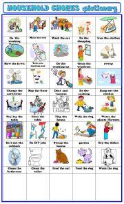 English Worksheet: household chores:pictionary