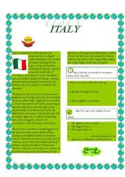English Worksheet: Italy-reading comprehension; the superlative of adjectives