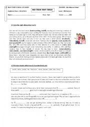 English Worksheet: mid term test 3 9th form (pilot school)