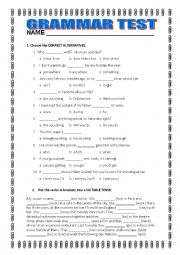 English Worksheet: GRAMMAR TEST FOR INTERMEDIATE STUDENTS
