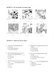 English Worksheet: Activity worksheet for the Gingerbread Man story!