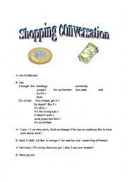 English Worksheet: Shopping Conversation