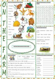 On the Farm Vocabulary Exercises
