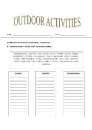English Worksheet: OUTDOOR ACTIVITIES, ACCOMODATIONS AND SEASONS