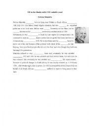 English Worksheet: Nelson Mandela- Fill in