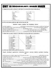 English Worksheet: Brain drain vocabulary