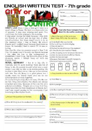English Worksheet: CITY vs COUNTRYLIFE - TEST (7th grade) key included