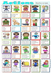 English Worksheet: Action Verbs *** multiple choice ***