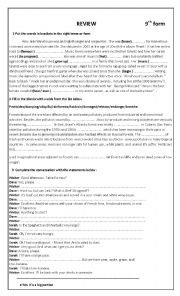 English Worksheet: Review 9th form