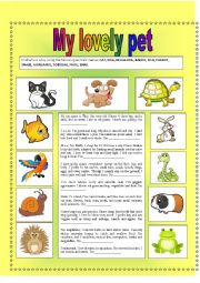 English Worksheet: My lovely pet (2 pages)