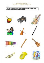 English Worksheet: musical instruments vocabulary