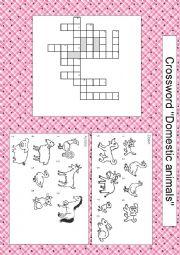 English Worksheet: Domestic animals crossword (with key)