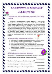 English Worksheet: LEARNING A FOREIGN LANGUAGE