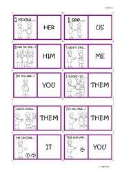 English Worksheet: Object pronouns - Dominos