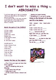 English Worksheet: I DON�T WANT TO MISS A THING by Aerosmith