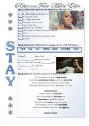 English Worksheet: Stay Rihanna