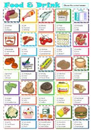 English Worksheet: Food & Drink *** multiple choice ***