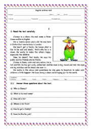 English Worksheet: Test 5th grade