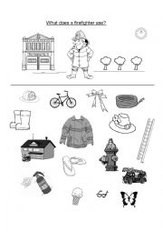 English Worksheet: What does a firefighter use?