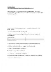English Worksheet: logistics events