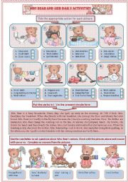 English Worksheet: Mrs. Bear and her daily activities( part one)
