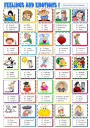 English worksheet: Feelings and emotions multiple choice 1