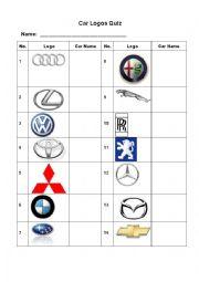 image relating to Logo Quiz Printable identified as Vehicle Emblems Quiz - ESL worksheet by means of Renda