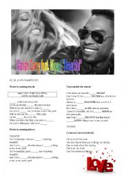 English Worksheet: Mariah Carey & Miguel BEAUTIFUL