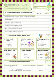 English Worksheet: listening test - school timetable (26.05.13)