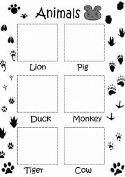 English Worksheet: Animals cut and paste for little children