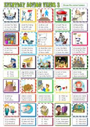 English Worksheet: EVERYDAY  ACTION VERBS/MULTIPLE CHOICE ACTIVITY 3
