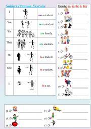 English Worksheet: Subject pronoun through pictures