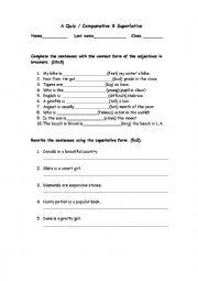 A Quiz- Comparative & Superlative + answer key - ESL ...