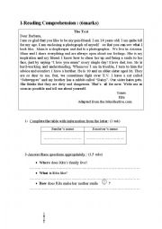 English Worksheet: End of term test n�3 for 8th form Tunisian pupils