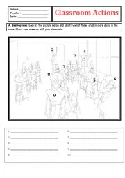 English Worksheet: IDENTIFICATION OF CLASSROOM COMMANDS. (I DREW THE PICTURES) WITH ANSWERS
