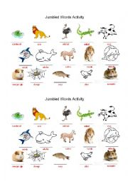 English Worksheet: Animals - Jumbled words activity