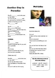 English Worksheet: Another Day in Paradise Song