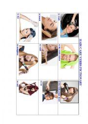English Worksheet: Hair Care Verbs