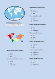 English Worksheet: Continents - quiz