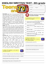 English Worksheet: TEENS & TV (8th form TEST) key included